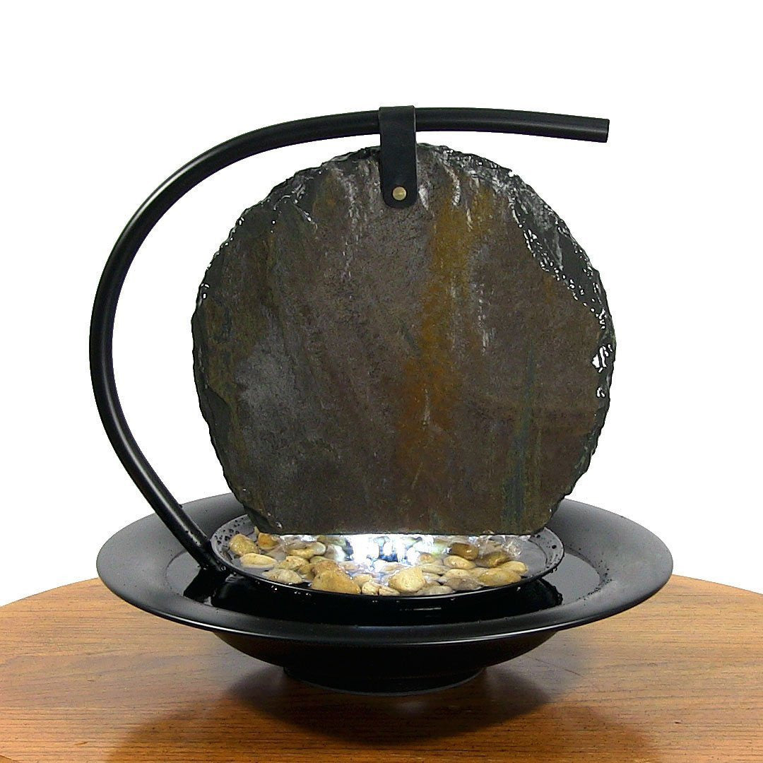 Zen Moonshadow Slate Tabletop Water Fountain   Soothing Walls ...
