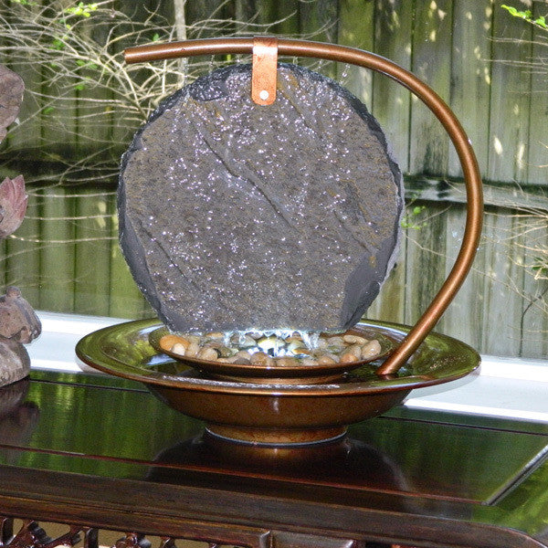 Large Sierra MoonShadow Tabletop Water Fountain - Soothing Walls
