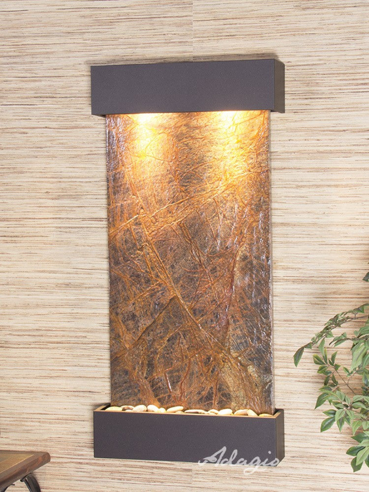 Whispering Creek: Rainforest Brown Marble and Antique Bronze Trim