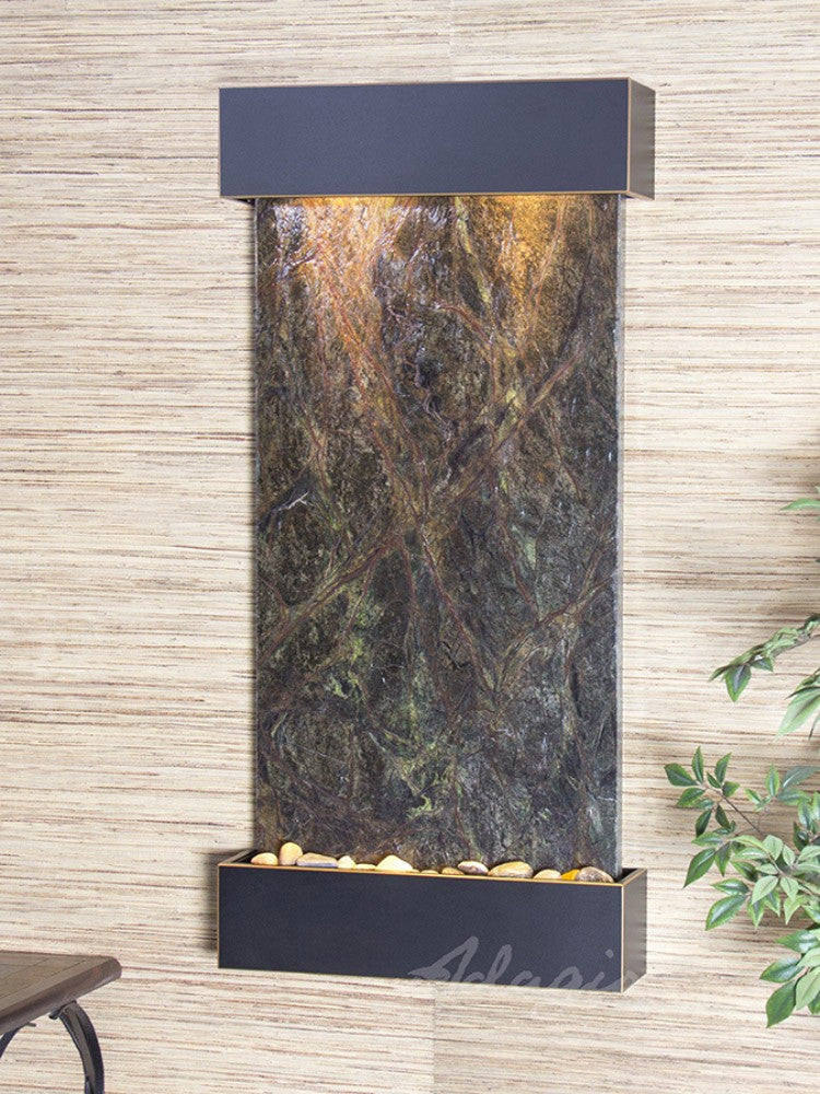 Whispering Creek: Rainforest Green Marble and Blackened Copper Trim