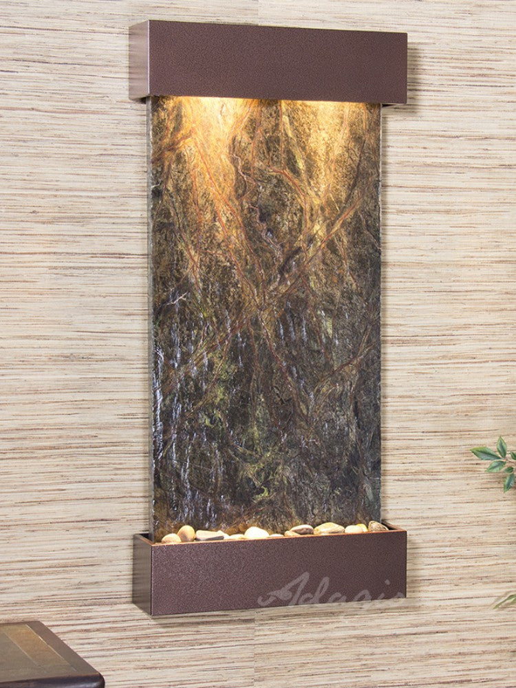 Whispering Creek: Rainforest Green Marble and Copper Vein Trim