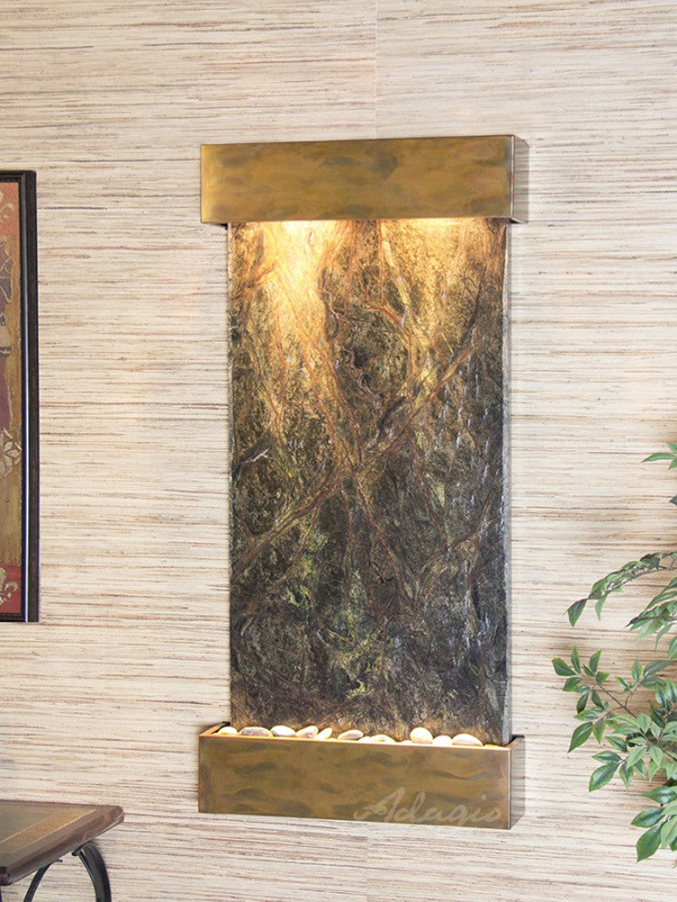 Whispering Creek: Rainforest Green Marble and Rustic Copper Trim