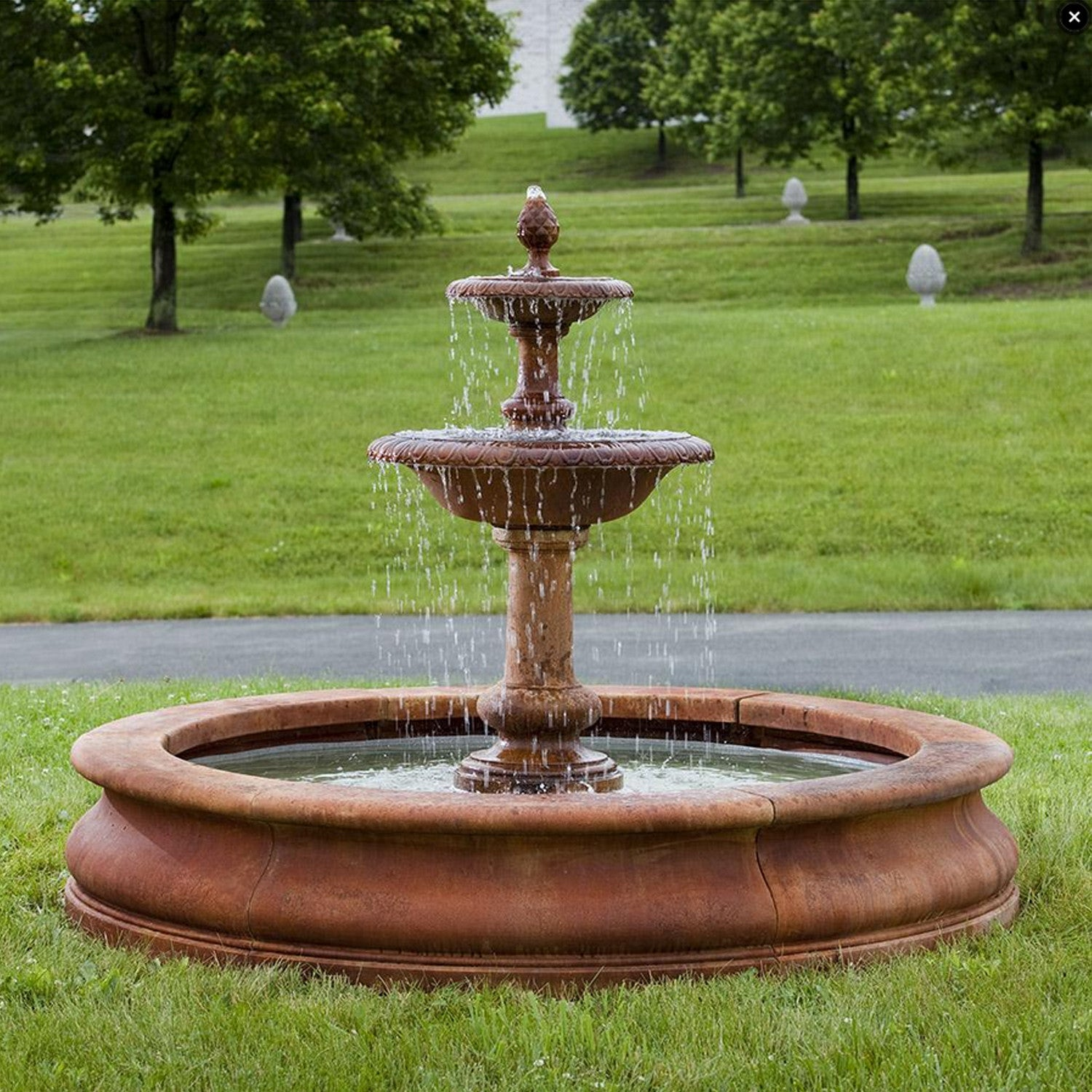 Williamsburg Pineapple 2 Tier Outdoor Water Fountain in Basin - Soothing Walls