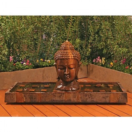 Charmant Buddha Head Outdoor Fountain   Large