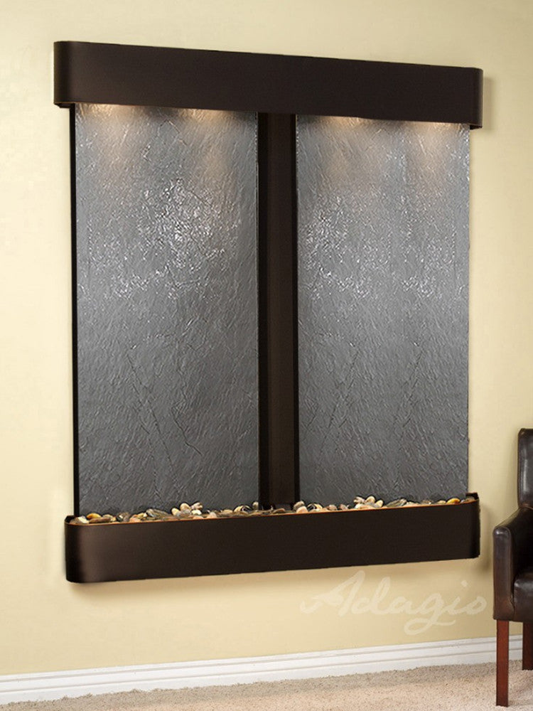 Cottonwood Falls: Black FeatherStone and Blackened Copper Trim with Rounded Corners