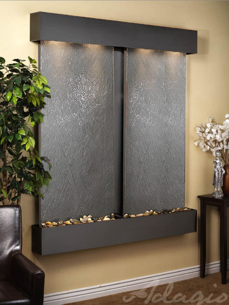 Cottonwood Falls: Black FeatherStone and Blackened Copper Trim with Squared Corners