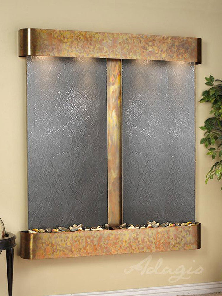 Cottonwood Falls: Black FeatherStone and Rustic Copper Trim with Rounded Corners