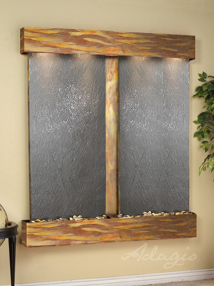Cottonwood Falls:  Black FeatherStone and Rustic Copper Trim with Squared Corners