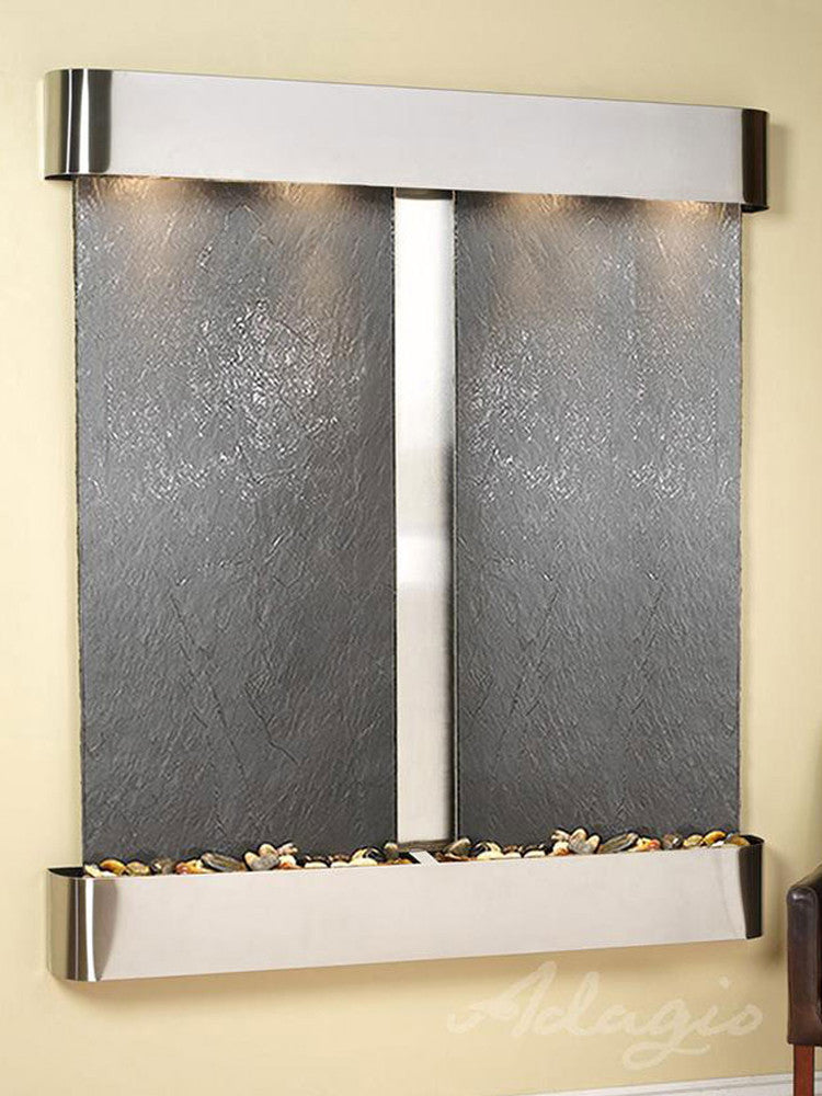 Cottonwood Falls: Black FeatherStone and Stainless Steel Trim with Rounded Corners