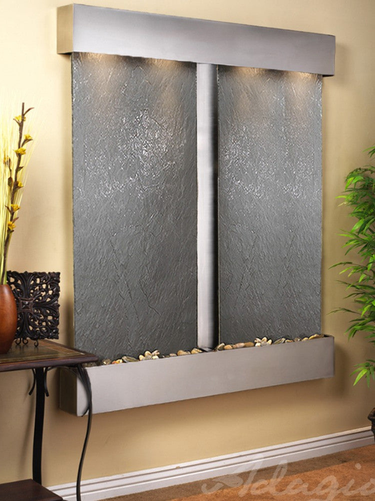 Cottonwood Falls: Black FeatherStone and Stainless Steel Trim with Squared Corners