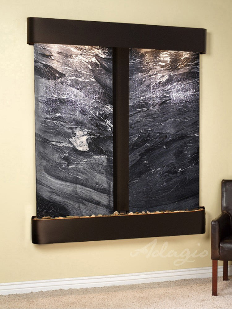 Cottonwood Falls: Black Spider Marble and Blackened Copper Trim with Rounded Corners