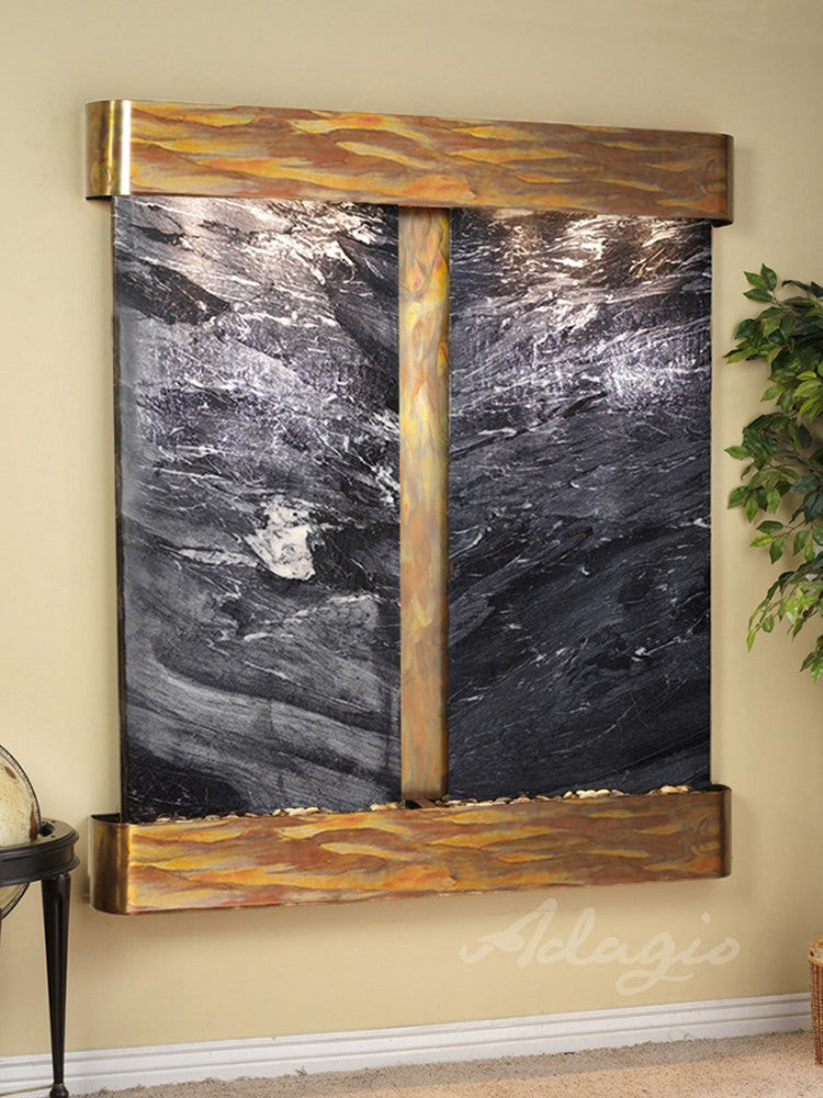 Cottonwood Falls - Black Spider Marble - Rustic Copper - Rounded Corners - Soothing Walls