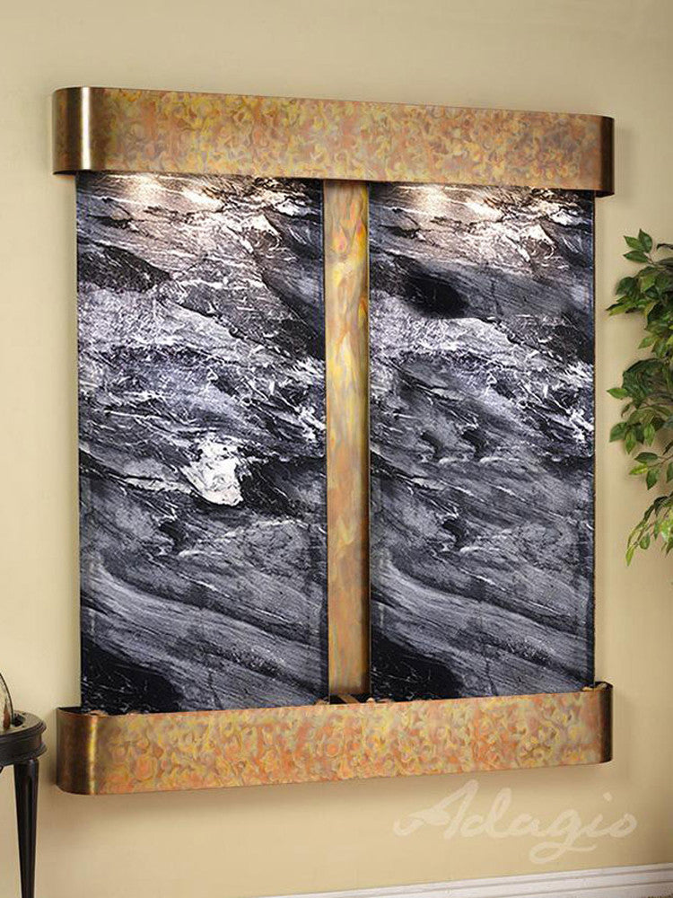 Cottonwood Falls: Black Spider Marble and Rustic Copper trim with Rounded Corners