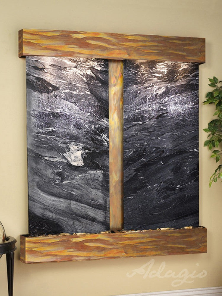 Cottonwood Falls: Black Spider Marble and Rustic Copper trim with Squared Corners