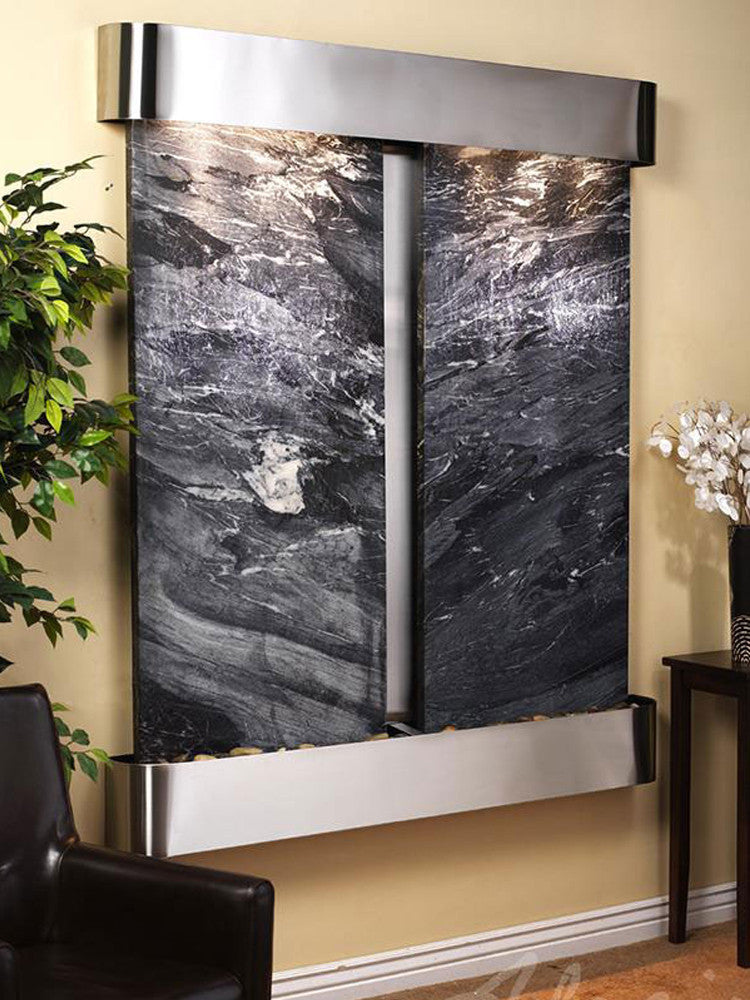 Cottonwood Falls: Black Spider Marble and Stainless Steel Trim with Rounded Corners