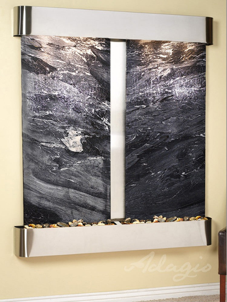 Cottonwood Falls - Black Spider Marble - Stainless Steel - Rounded Corners - Soothing Walls