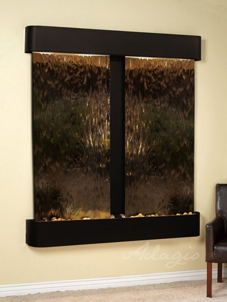 Cottonwood Falls - Bronze Mirror - Blackened Copper - Rounded Corners - Soothing Walls
