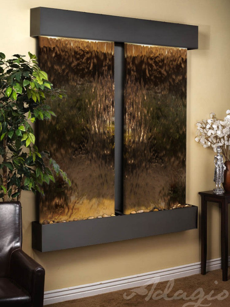 Cottonwood Falls - Bronze Mirror - Blackened Copper - Squared Corners - Soothing Walls