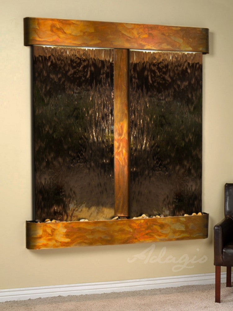 Cottonwood Falls: Bronze Mirror and Rustic Copper Trim with Rounded Corners