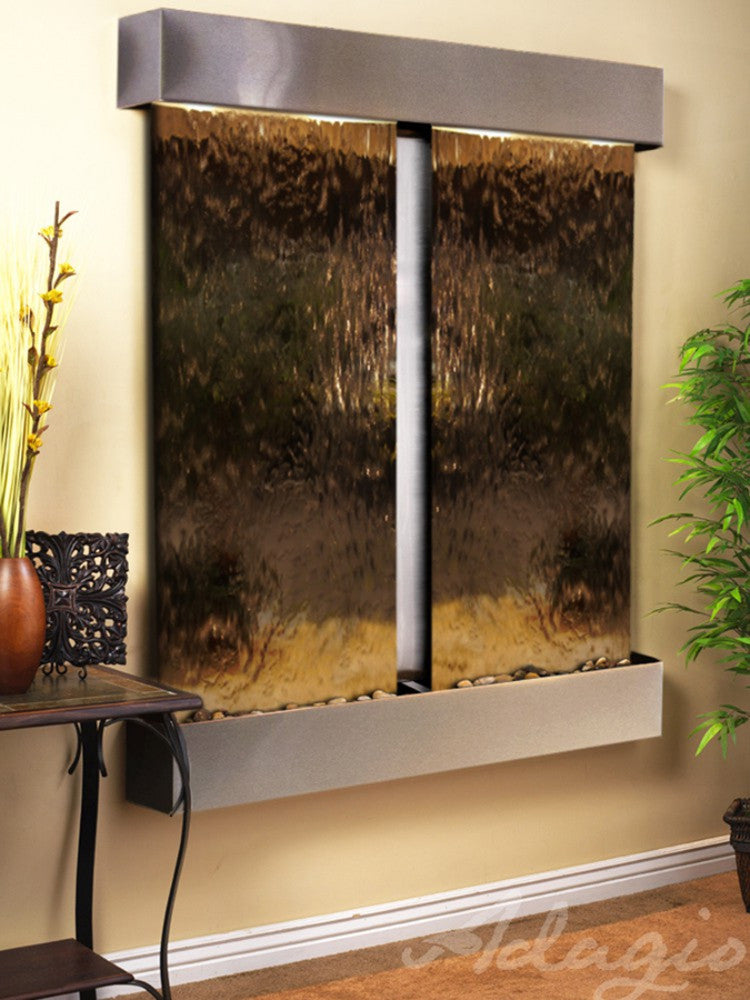 Cottonwood Falls: Bronze Mirror and Stainless Steel Trim with Squared Corners