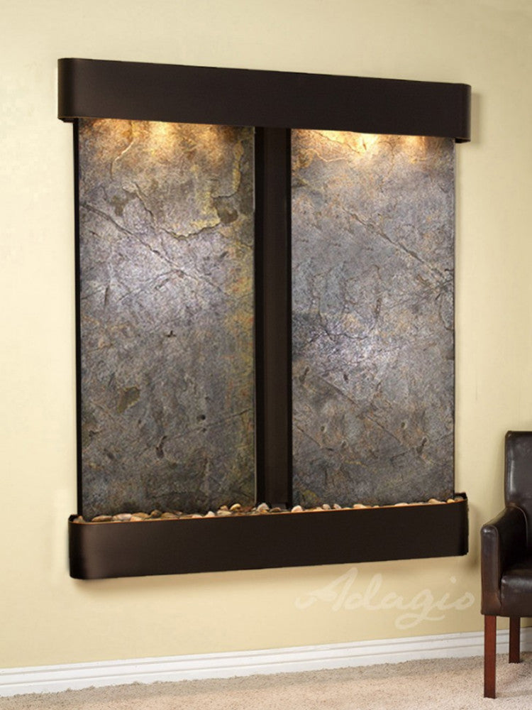 Cottonwood Falls - Green FeatherStone - Blackened Copper - Rounded Corners - Soothing Walls