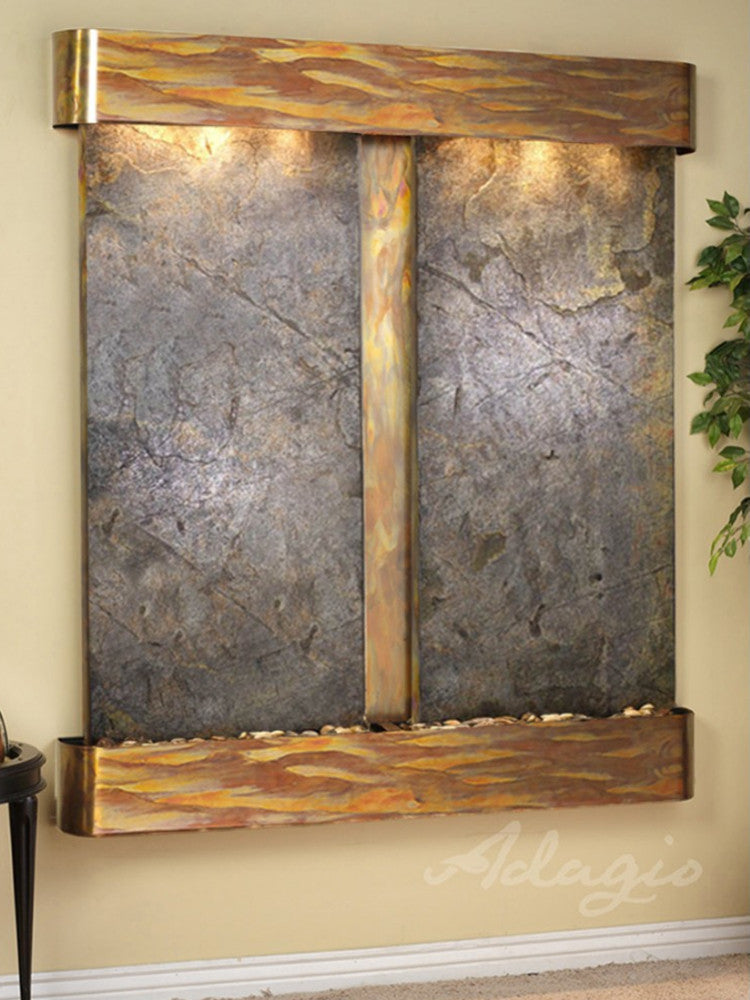 Cottonwood Falls - Green FeatherStone - Rustic Copper - Rounded Corners - Soothing Walls