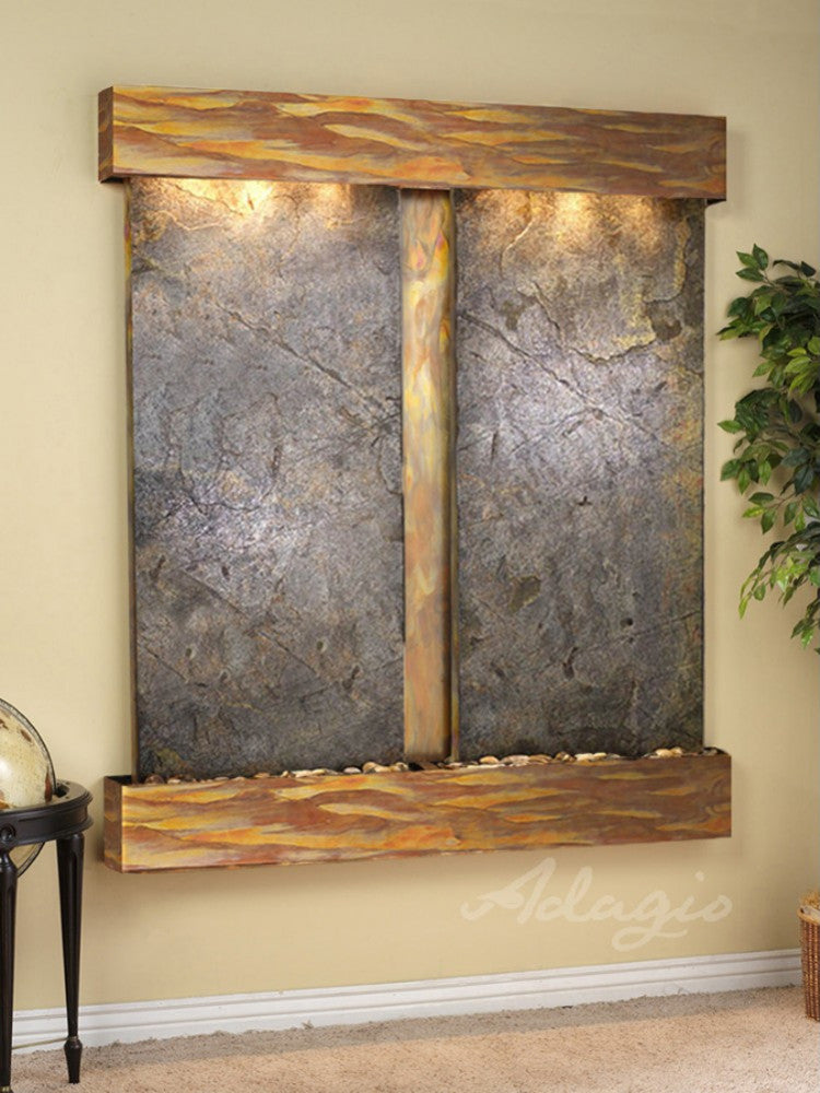 Cottonwood Falls: Green FeatherStone and Rustic Copper -Trim with Squared Corners