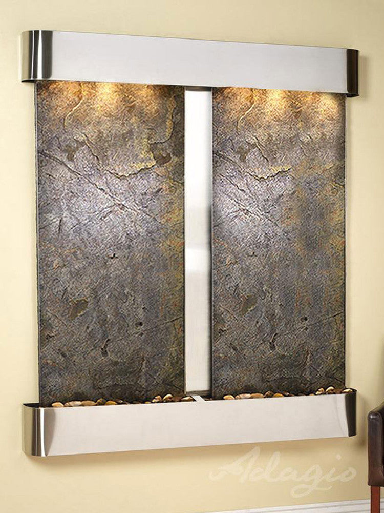 Cottonwood Falls: Green FeatherStone and Stainless Steel Trim with Rounded Corners