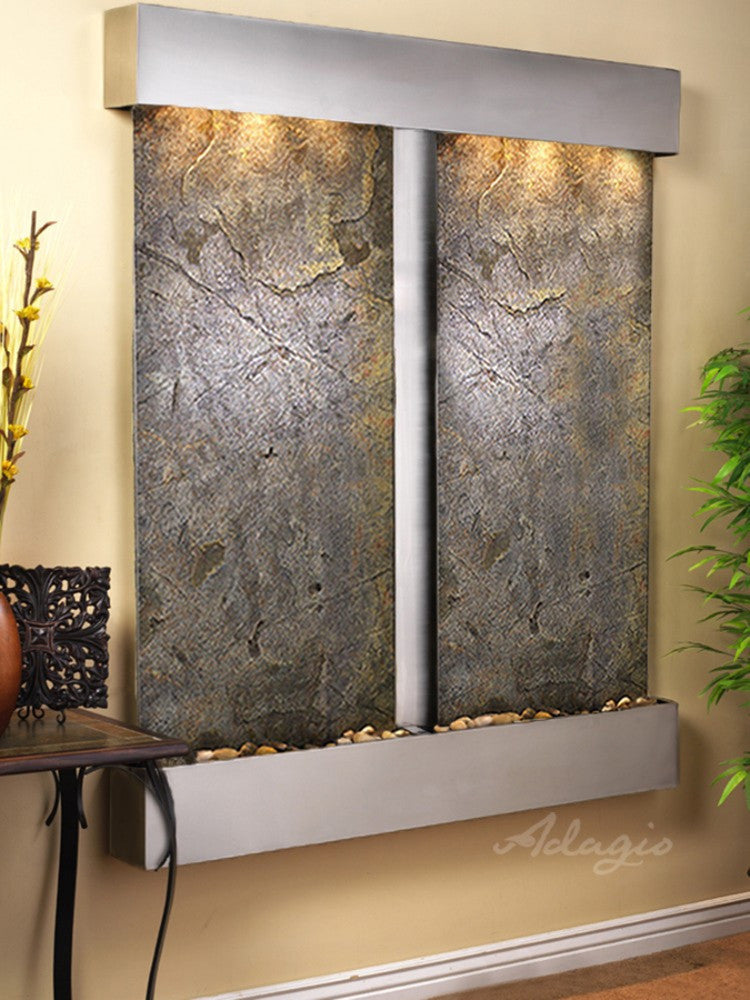 Cottonwood Falls: Green FeatherStone and Stainless Steel Trim with Squared Corners