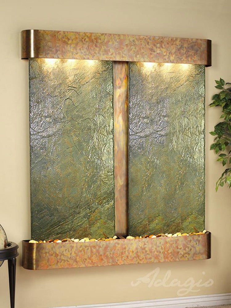 Cottonwood Falls - Green Slate - Rustic Copper - Rounded Corners - Soothing Walls