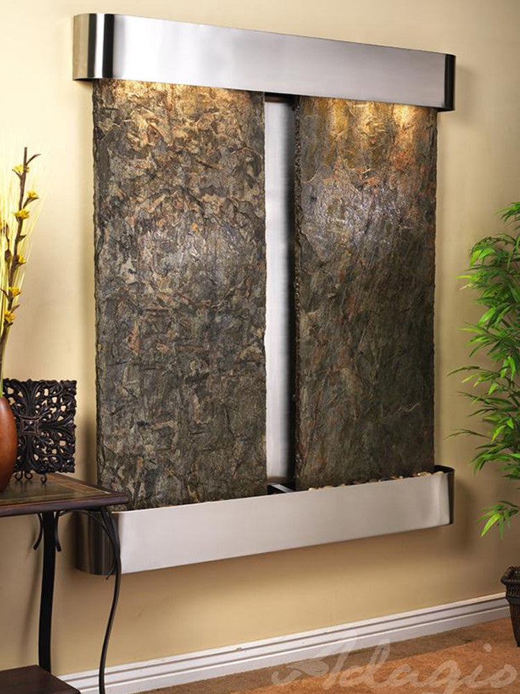 Cottonwood Falls - Green Slate - Stainless Steel - Rounded Corners - Soothing Walls