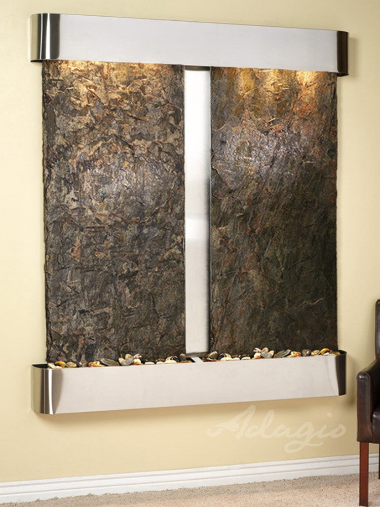 Cottonwood Falls: Green Slate and Stainless Steel Trim with Rounded Corners