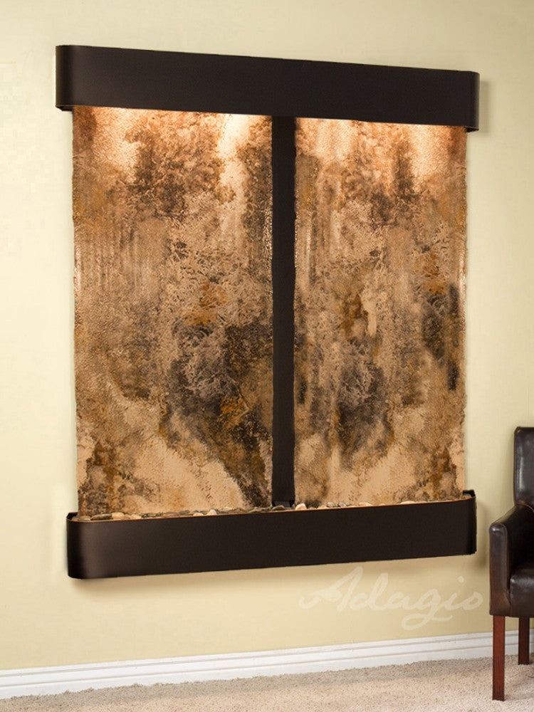 Cottonwood Falls:  Magnifico Travertine and Blackened Copper Trim with Rounded Corners