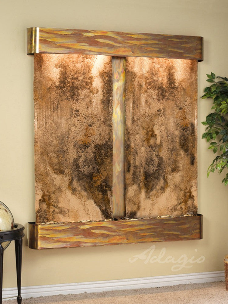 Cottonwood Falls: Magnifico Travertine and Rustic Copper Trim with Rounded Corners