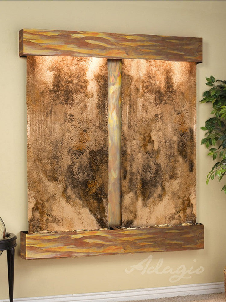 Cottonwood Falls: Magnifico Travertine and Rustic Copper Trim with Squared Corners