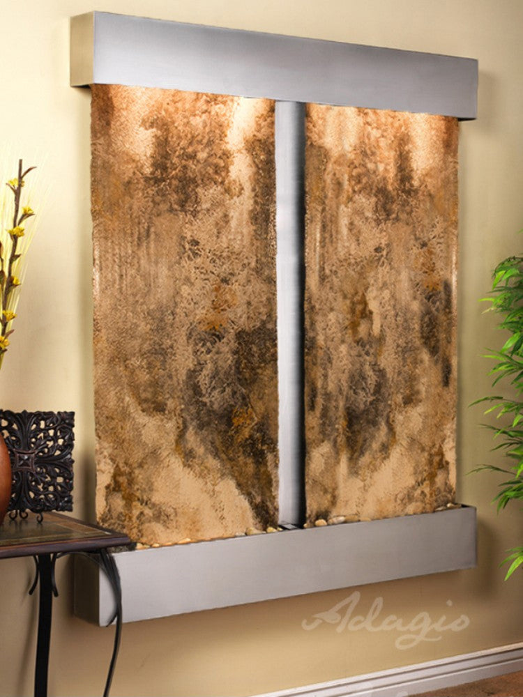 Cottonwood Falls - Magnifico Travertine - Stainless Steel - Squared Corners - Soothing Walls
