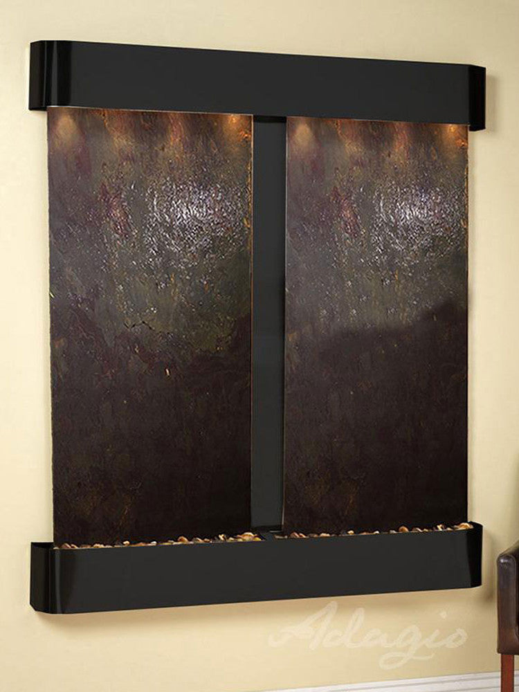 Cottonwood Falls: Multi-Color FeatherStone and Blackened Copper Trim with Rounded Corners