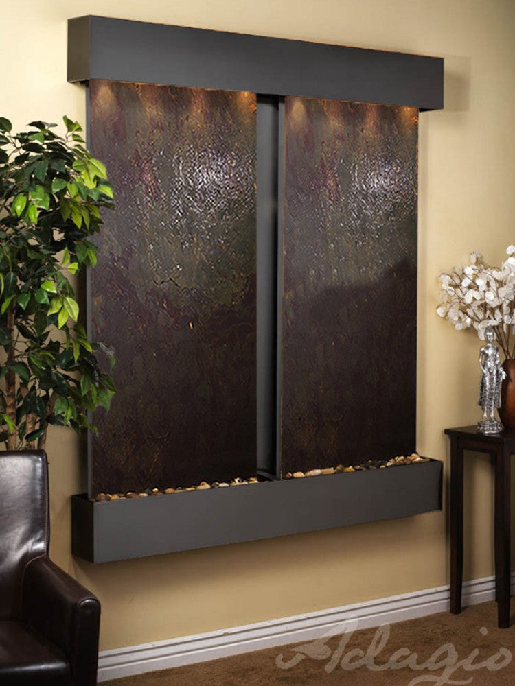 Cottonwood Falls: Multi-Color FeatherStone and Blackened Copper Trim with Squared Corners