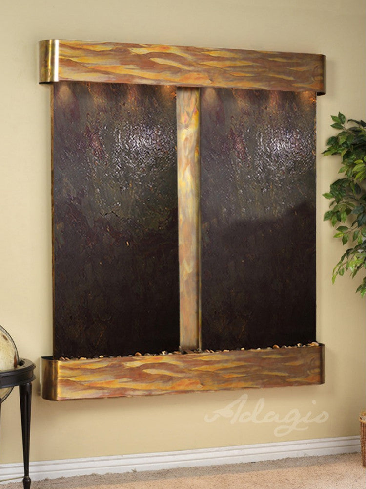 Cottonwood Falls: Multi-Color FeatherStone and Rustic Copper Trim with Rounded Corners