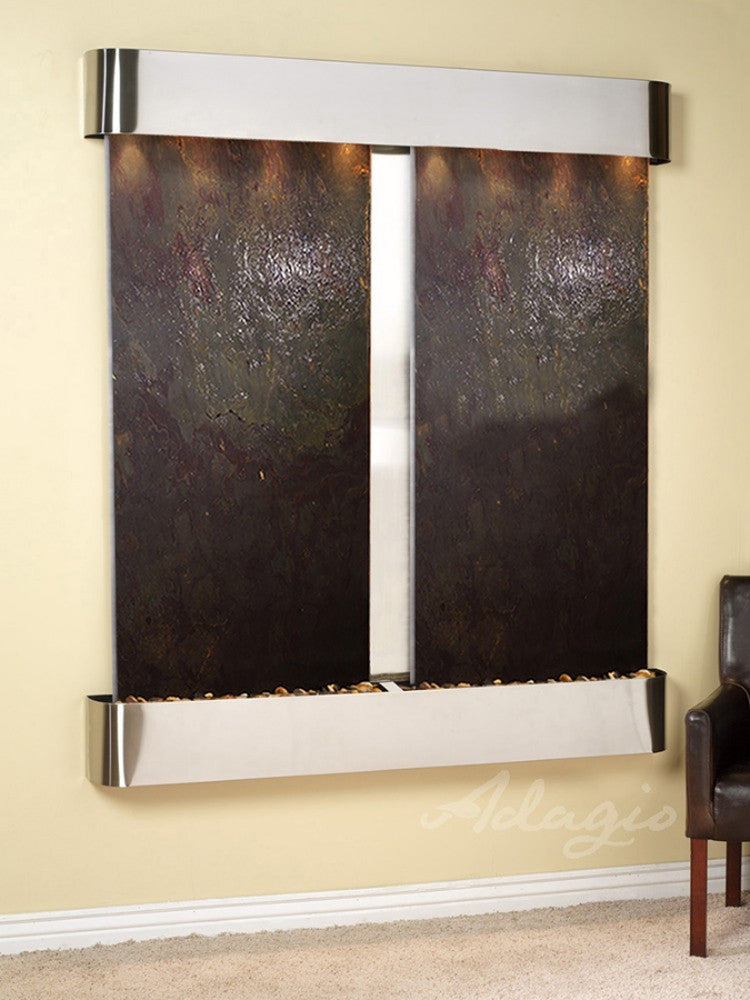 Cottonwood Falls - Multi-Color FeatherStone - Stainless Steel - Rounded Corners - Soothing Walls