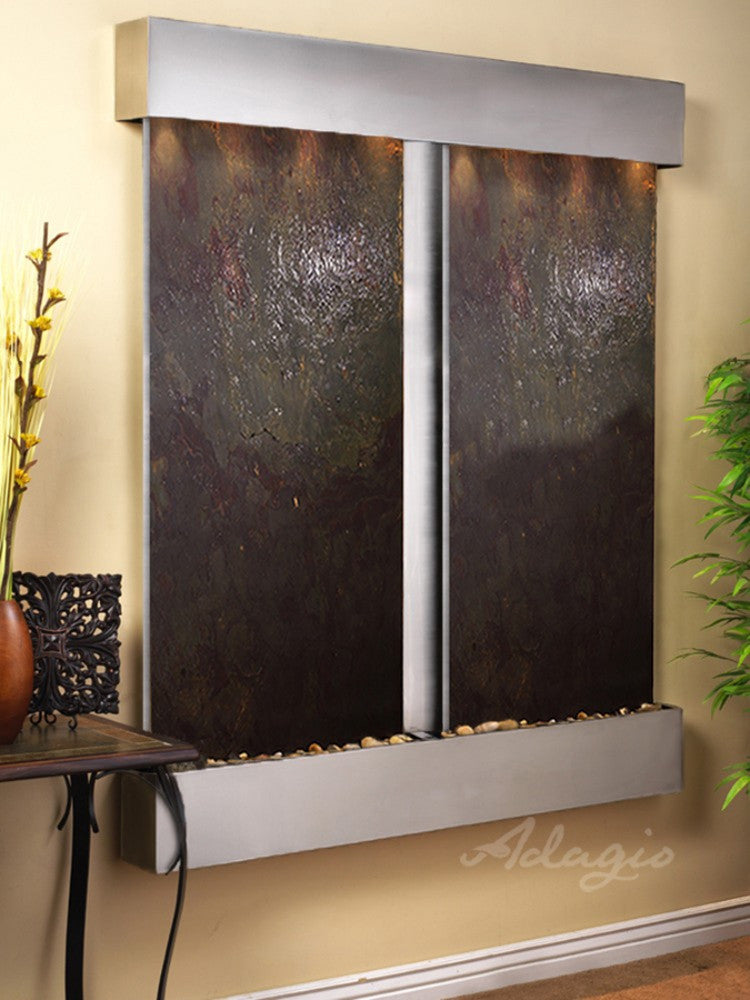 Cottonwood Falls - Multi-Color FeatherStone - Stainless Steel - Squared Corners- Soothing Walls
