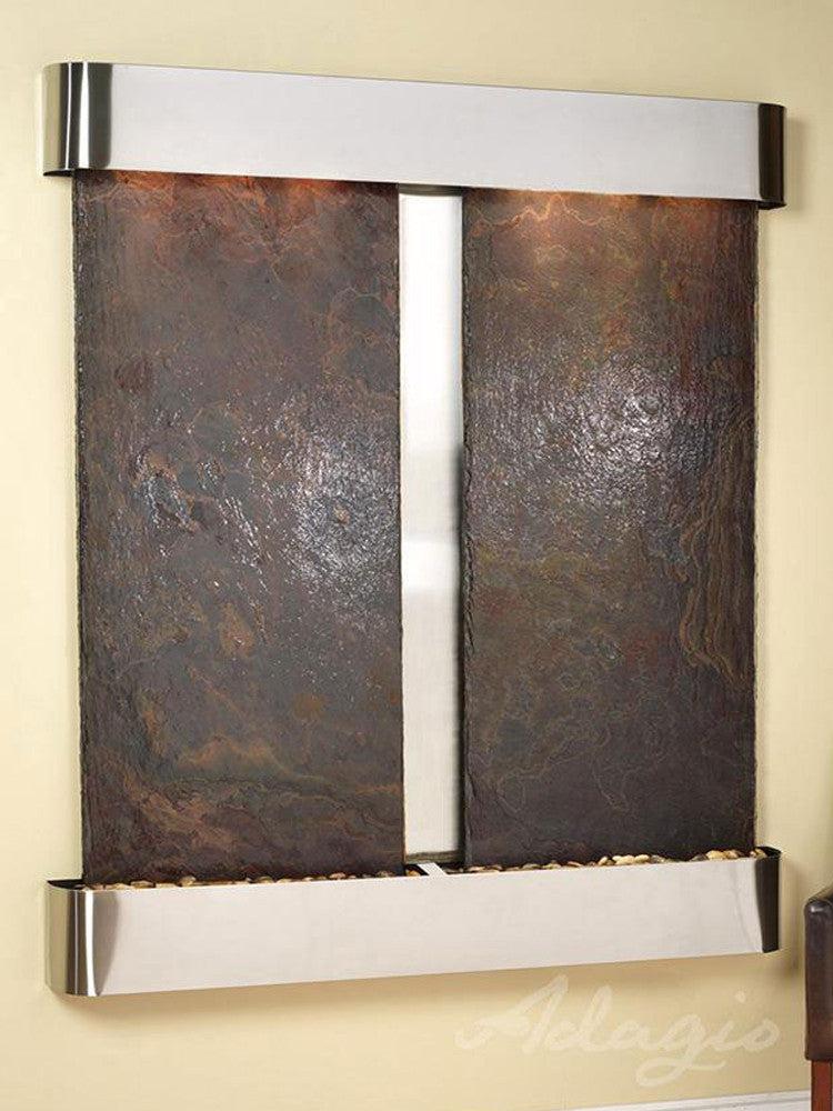 Cottonwood Falls - Multi-Color Slate - Stainless Steel - Rounded Corners - Soothing Walls