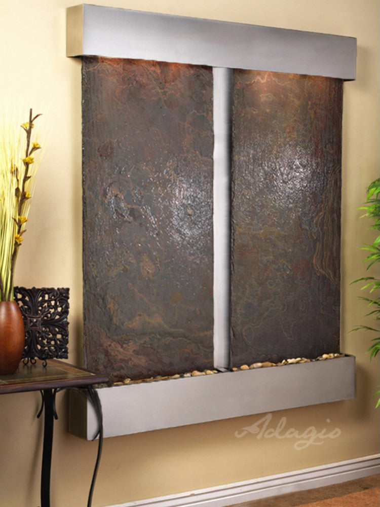 Cottonwood Falls - Multi-Color Slate - Stainless Steel - Squared Corners - Soothing Walls