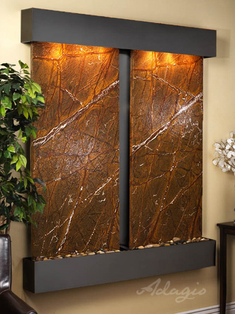Cottonwood Falls - Rainforest Brown Marble - Blackened Copper - Squared Corners - Soothing Walls