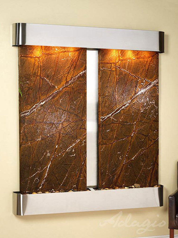 Cottonwood Falls: Rainforest Brown Marble and Stainless Steel Trim with Rounded Corners