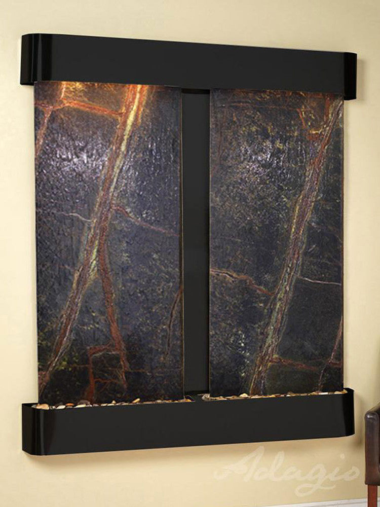 Cottonwood Falls: Rainforest Green Marble and Blackened Copper Trim with Rounded Corners