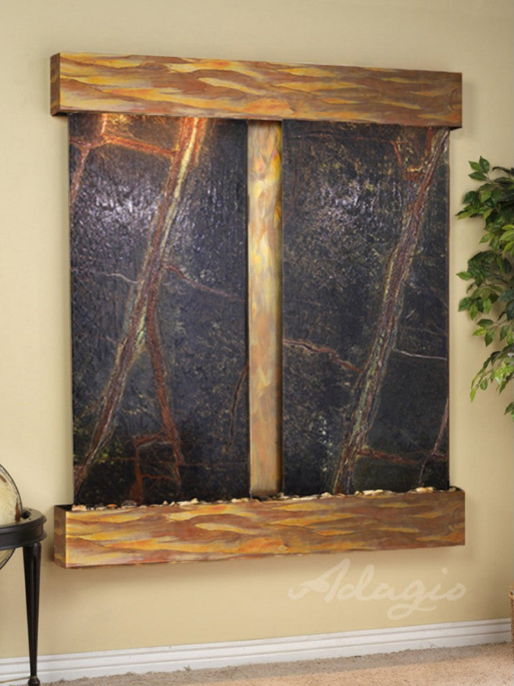 Cottonwood Falls: Rainforest Green Marble and Rustic Copper Trim with Squared Corners