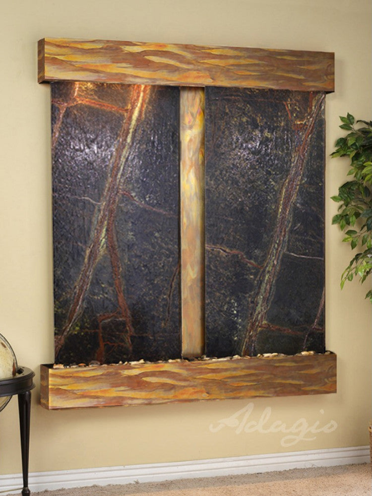 Cottonwood Falls - Rainforest Green Marble - Rustic Copper - Squared Corners - Soothing Walls
