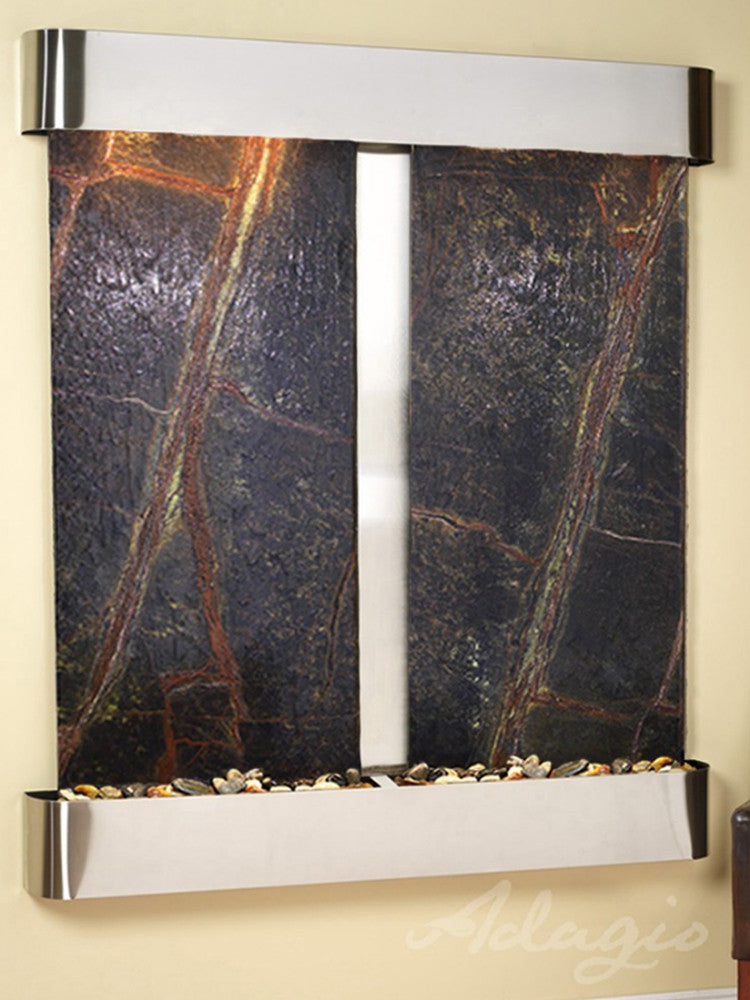 Cottonwood Falls - Rainforest Green Marble - Stainless Steel - Rounded Corners - Soothing Walls