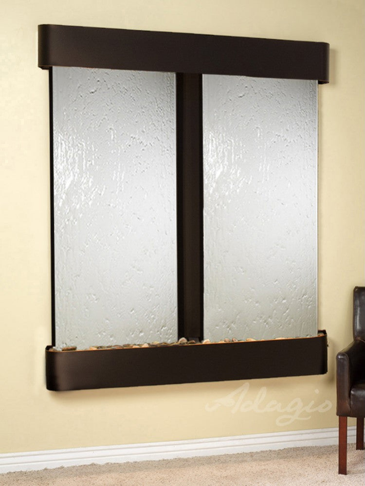 Cottonwood Falls: Silver Mirror and Blackened Copper Trim with Rounded Corners